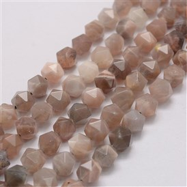 Natural Sunstone Beads Strands, Star Cut Round Beads, Faceted