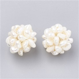 Handmade Natural Pearl Woven Beads, Ball Cluster Beads, Round