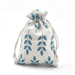 DeepSkyBlue Polycotton(Polyester Cotton) Packing Pouches Drawstring Bags, with Printed Leaf, DeepSkyBlue, 18x13cm
