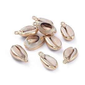 Electroplate Cowrie Shell Pendants, with Brass Findings