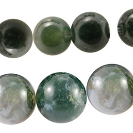 Natural Moss Agate Beads Strands, Round, 10~14mm, Hole: 1~1.2mm