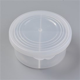 Plastic Bead Containers, 4 Compartments, Flat Round