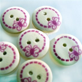 Painted Butterfly Wood Buttons with 2-Hole, Wooden Buttons