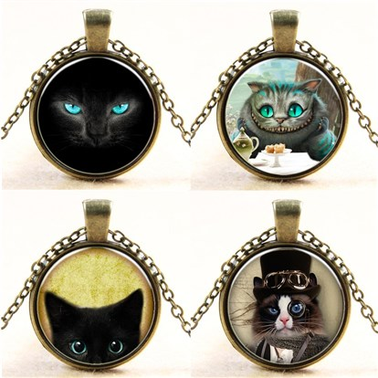 Cat Pattern Flat Round Glass Pendant Necklaces, with Alloy Chains-1