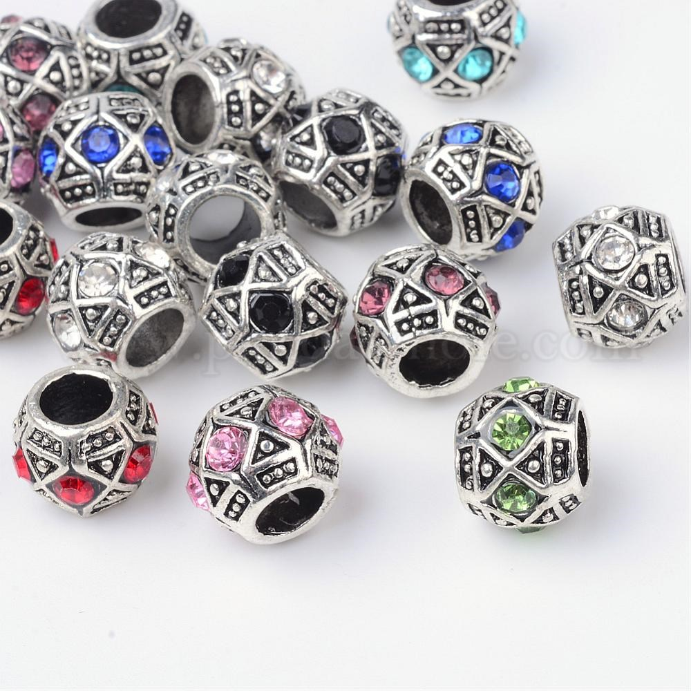 50pcs Vintage Printed Wooden Beads Large Hole European Beads Jewelry Making