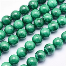 Natural Malachite Beads Strands, Round