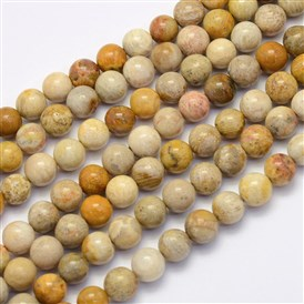 Natural Chrysanthemum Stone Beads Strands, Round