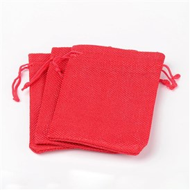 Polyester Imitation Burlap Packing Pouches Drawstring Bags