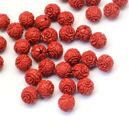 Round Cinnabar Beads, 10mm, Hole: 1~2mm