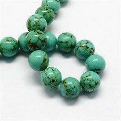 MediumSeaGreen Dyed Synthetic Turquoise Gemstone Bead Strands, Round, MediumSeaGreen, 6mm, Hole: 1mm; about 66pcs/strand, 15.7""