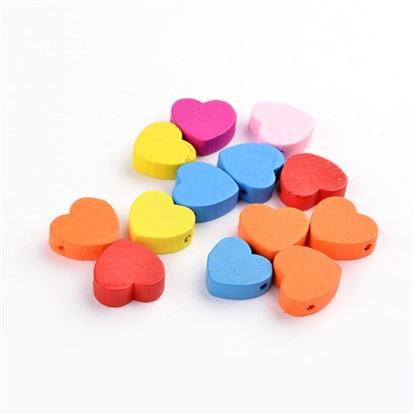 Mixed Color Wood Beads, Heart, Nice for Children's Day Jewelry Making, Lead Free, Dyed-1