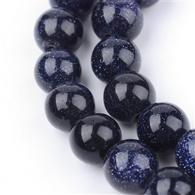 Synthetic Blue Goldstone Beads Strands, Round
