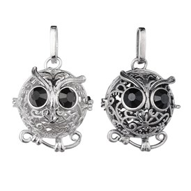 Brass Rhinestone Hollow Owl Cage Pendants, For Chime Ball Pendant Necklaces Making, Lead Free & Nickle Free & Cadmium Free, 29x23mm, Hole: 3.5x8mm