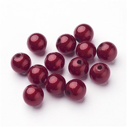 Red Spray Painted Miracle Acrylic Beads, Bead in Bead, Round, Red, 8mm, Hole: 1.8mm; about 1800pcs/500g