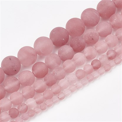 Cherry Quartz Glass Beads Strands, Frosted, Round