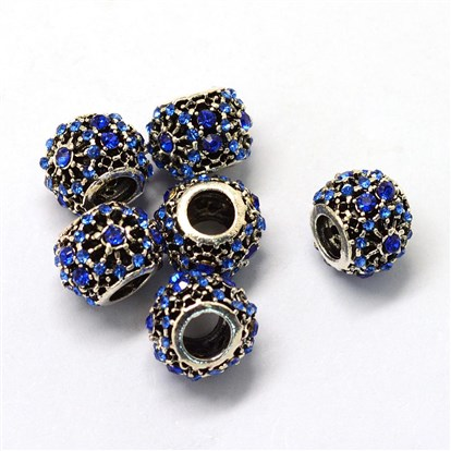 Alloy Glass Rhinestone European Beads, Large Hole Beads, Rondelle, Antique Silver-1