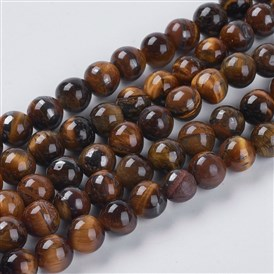 Natural Tiger Eye Beads Strands, Grade AB, Round, 6mm, Hole: 0.8mm