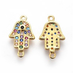 Real Gold Plated Brass Pendants, with Micro Pave Cubic Zirconia, Long-Lasting Plated, Hamsa Hand/Hand of Fatima /Hand of Miriam, Colorful, Real Gold Plated, 16x9.5x2mm, Hole: 1mm