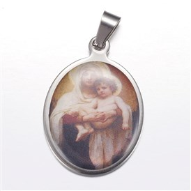 304 Stainless Steel Pendants, Oval with Virgin Mary