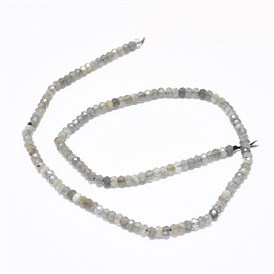 Natural Labradorite Beads Strands, Faceted, Rondelle
