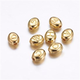 Alloy Beads, Oval with Letter, Golden