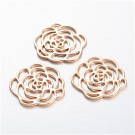 Flower Light Gold Plating Brass Cabochons, 21x1mm