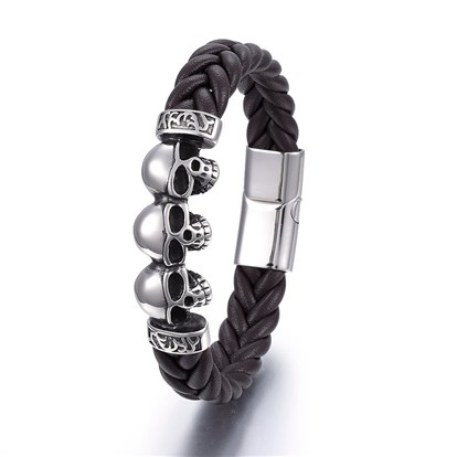 Leather Cord Bracelets, with 304 Stainless Steel Magnetic Clasp, Skull-1