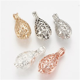 Brass Locket Pendants, Cage Pendants, Hollow, Drop