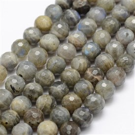 Natural Labradorite Beads Strands, Grade A-, Faceted, Round