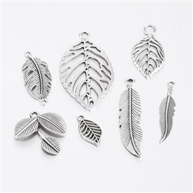 Mixed Style Tibetan Style Alloy Leaf Pendants, 19~47x10~26x2~4mm, Hole: 2~4mm, about 50pcs/100g