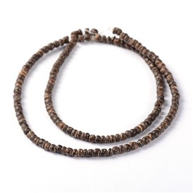 Natural Coconut Rondelle Bead Strands, 3.5x2~3.5mm, Hole: 1mm; about 163pcs/strand, 15.7""