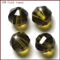 Olive Imitation Austrian Crystal Beads, Grade AAA, Faceted, Round, Olive, 10mm, Hole: 0.9~1mm