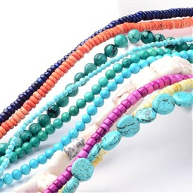 Natural Howlite Bead Strands, Dyed & Heated, Mixed Shapes