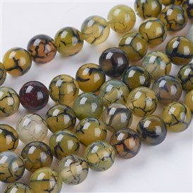 Natural Dragon Veins Agate Beads Strands, Dyed, Round, Olive