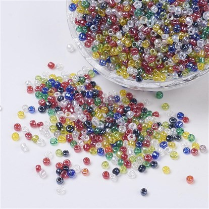 Glass Seed Beads, Trans. Colours Lustered, Round