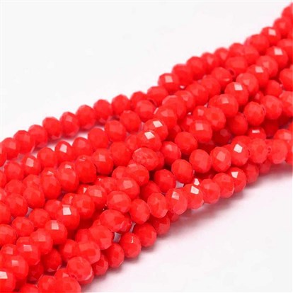 "Faceted Abacus Glass Beads Strands, 6x4mm, Hole: 1mm; about 99pcs/strand, 17.7""-1"