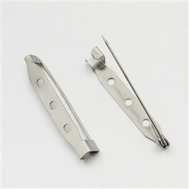 Iron Brooch Pin Back Safety Catch Bar Pins with 2-Hole
