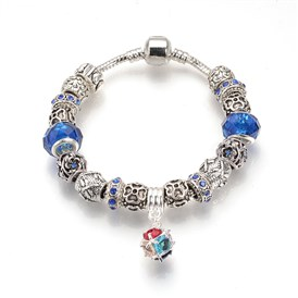 European Bracelets, with Tibetan Style Alloy Rhinestone Beads, Resin Beads and Brass Chains, Antique Silver, Round