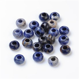 Gemstone European Beads, Sodalite, without Core, Large Hole Beads, Abacus, 12x8mm, Hole: 5mm