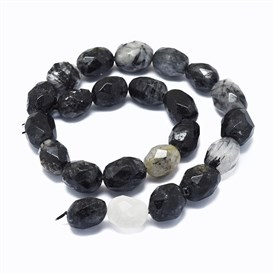 Natural Black Rutilated Quartz Beads Strands, Faceted, Oval