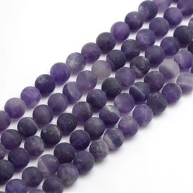 Frosted Natural Amethyst Round Bead Strands