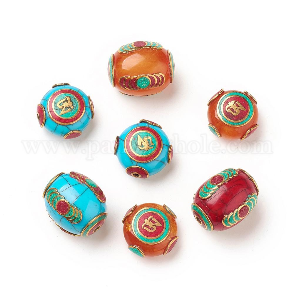 Tibetan Style Beads, with Synthetic Turquoise, Synthetic Coral, Imitation  Beeswax and Brass Findings
