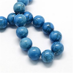 DodgerBlue Dyed Synthetic Turquoise Gemstone Bead Strands, Round, DodgerBlue, 6mm, Hole: 1mm; about 66pcs/strand, 15.7""