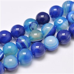 "Blue Natural Striped Agate/Banded Agate Bead Strands, Dyed & Heated, Round, Grade A, Blue, 14mm, Hole: 2mm; about 28pcs/strand, 14.9""(380mm)"