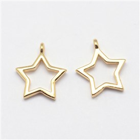 Star Grade AAA Brass Charms, Cadmium Free & Nickel Free & Lead Free, 12x10x1.5mm, Hole: 1mm