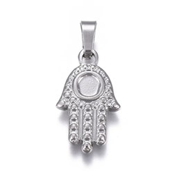 Stainless Steel Color 304 Stainless Steel Pendants Cabochons Setting, Religion, Hamsa Hand/Hand of Fatima/Hand of Miriam, Stainless Steel Color, Tray: 3.5mm; 19x11x2mm, Hole: 3.5x6mm