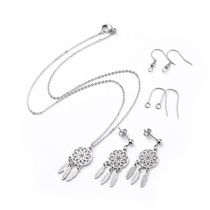 304 Stainless Steel Dangle Earrings & Pendant Necklaces Jewelry Sets, with Two Pairs of Replacement Earring Hooks and Cardboard Boxes, Woven Net/Web with Feather