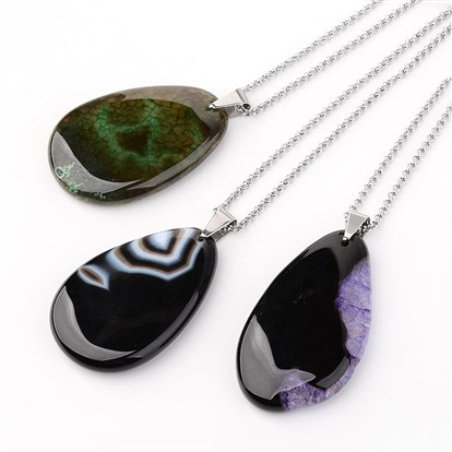 "304 Stainless Steel Agate Dangle Necklaces, Drop, 27.2""(69cm)-1"