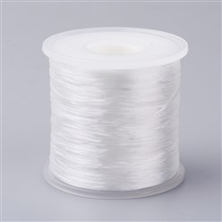 White Japanese Flat Elastic Crystal String, Elastic Beading Thread, for Stretch Bracelet Making, White, 0.5mm; about 300m/roll