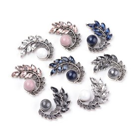 Alloy Cabochons, with Acrylic Beads and Rhinestones, Leaf, Antique Silver